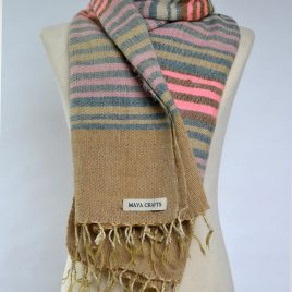 Stripy Fluorescent Pink & Pastels Yak Wool